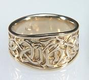 14KY custom celtic monogram signet ring - initial rings